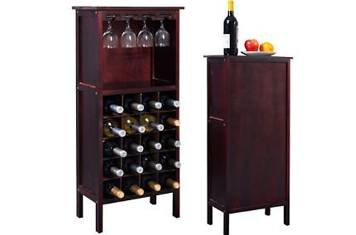 Genric Wood Wine Cabinet Bottle Holder Storage for Kitchen with Glass Rack