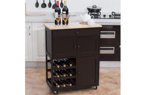 Giantex Modern Rolling Trolley Cart with Drawer & Wine Rack Storage Cabinet