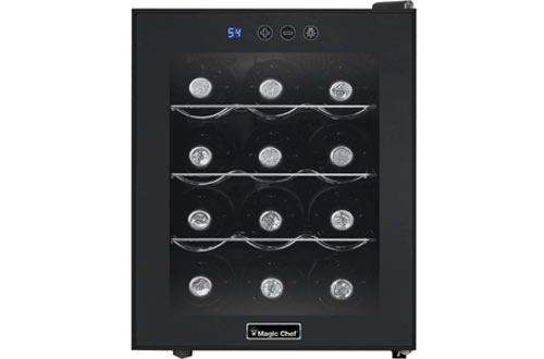 Magic Chef MCWC12B 12-Bottle Single Zone Wine Cooler in Black