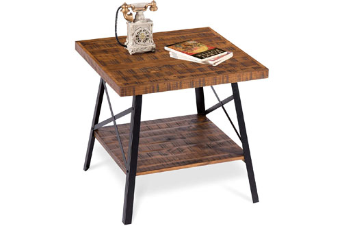 Olee Sleep Rustic Brown Solid Wood Table with Metal Legs