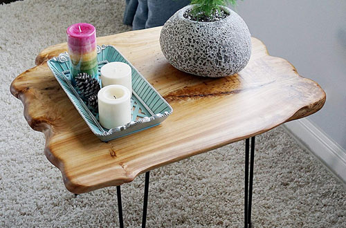 WELLAND Small Natural Wood Slab Coffee Table