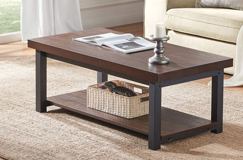DYH Rustic Rectangular Metal and Wood Coffee Table