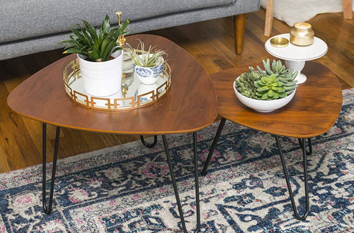 WE Furniture Hairpin Nesting Metal and Wood Coffee Table Set