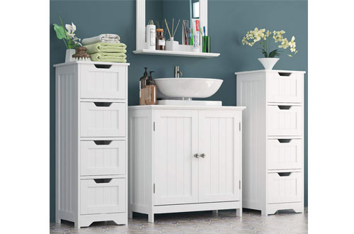 Homfa Bathroom Wooden Free Standing Storage Floor Cabinet