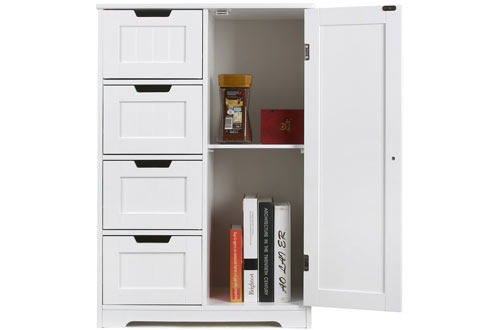HOMFA Bathroom Wooden Side Storage Organizer Cabinet