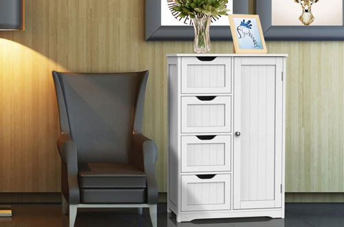 Yaheetech Side Wooden Bathroom Floor Cabinet with Drawers & Cupboard