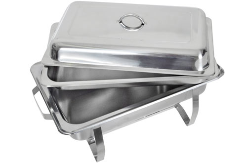 TMS Set of 2 8-Quart Stainless Steel Chafing Dish Full-Size Buffet Catering