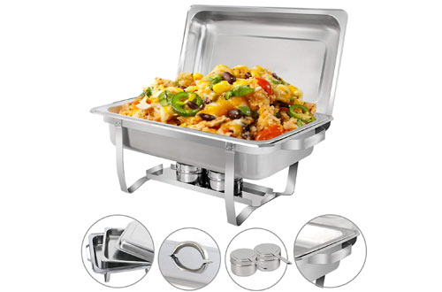 SUPER DEAL Stainless Steel Full-Size Chafer Dish with Lid & Water Pan