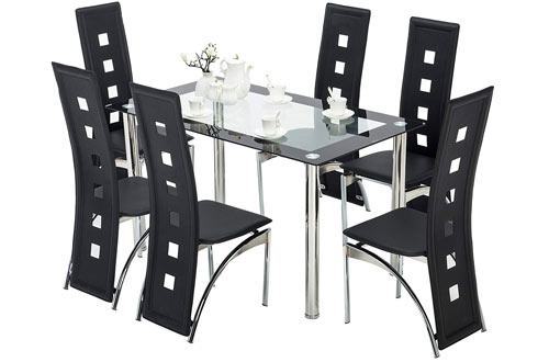 Mecor 7-Piece Kitchen Glass Top Table Set with Leather Chairs