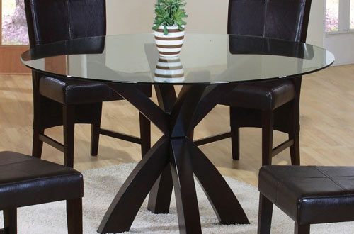 Dining Table with Round Glass Top in Rich Cappuccino – Coaster