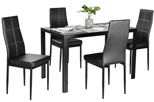 Bonnlo Modern 5 Pieces Glass Top Dining Table Set