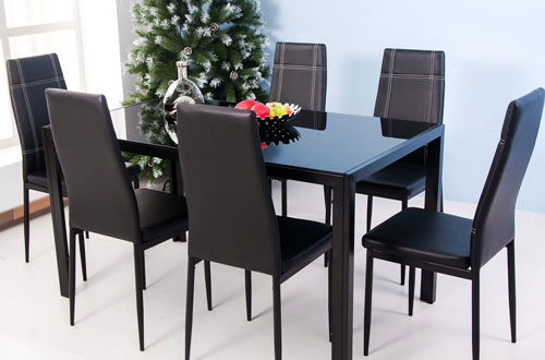 Merax 7-Piece Glass Top Dining Table Set