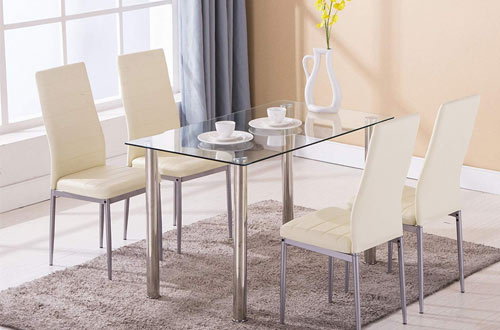 Mecor Modern Rectangular Glass Dining Table