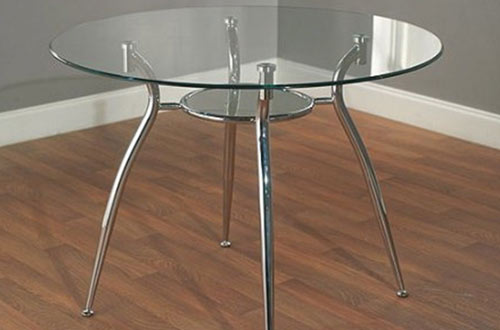Simple Living Tempered and Chrome Small Round Dining Room/Kitchen Table
