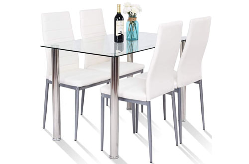 Tangkula 5 PCS Modern Tempered Glass Top Dining Table Set & PVC Leather Chair