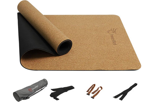 FrenzyBird 5mm Natural Cork Yoga Matwith Oxford Mat Bag and Strap