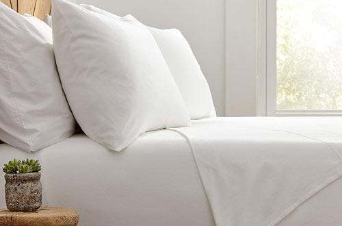 Stone & Beam Rustic Solid 100% Cotton White Flannel Sheet Set