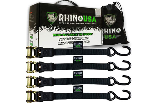 "RHINO USA Premium 1"" x 15' Rachet Tie Downs with Padded Handles"